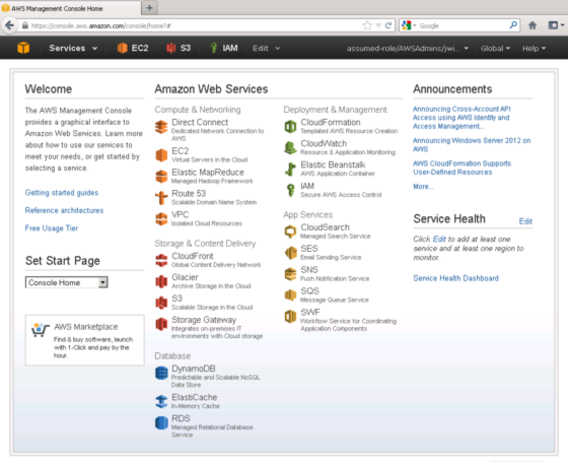 Amazon S3, AWS Management Console